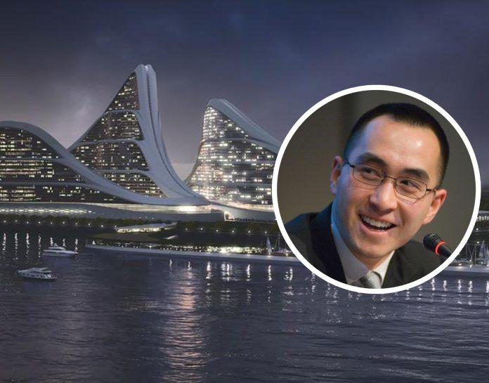 何猷龍在日本大阪記者會上公佈以「未來都市」為主題的概念影片力爭在當地引進賭場綜合度假區