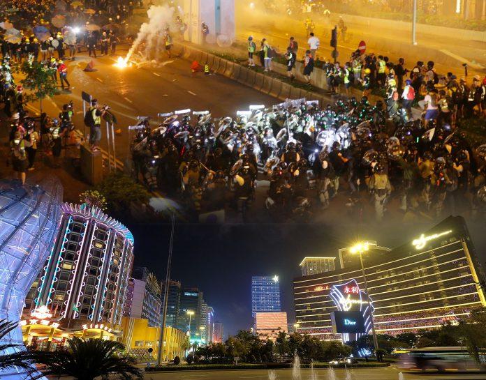 外媒指香港示威浪潮加中美貿戰夾擊 短期殃及澳門賭收