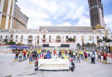 銀娛邀教練帶領三期地盤逾百工人齊做伸展運動 提升職安健意識